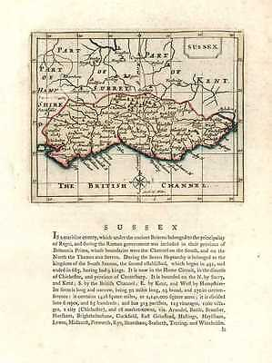 Sussex antique map by Seller after John Speed. Francis Grose c1787