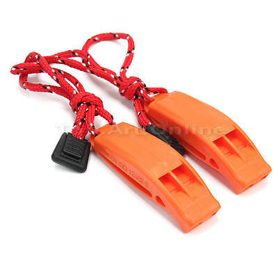 2x Camping Hiking Travel Emergency Survival Tools Dual-frequency Whistle Orange