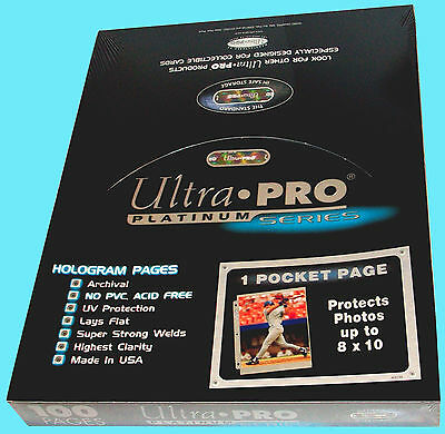 100 ULTRA PRO PLATINUM 1-POCKET 8x10 Pages Sheets Photo Comic Book Magazine 201D