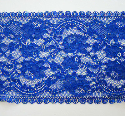 """3 Yards  6 1/2"""" Wide Lovely Stretch Floral Lace Royal Blue 127"""