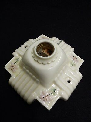 Vintage Ivory Porcelain Ceiling Light Fixture Decorative Floral Old 4075-15