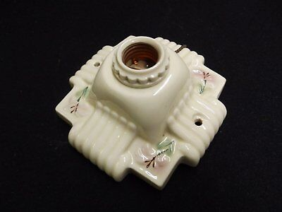 Vintage Ivory Porcelain Ceiling Light Fixture Decorative Floral Old 4076-15