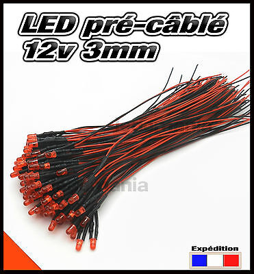 C258DR# LED 3mm 12v pré-câblé rouge diffusante 5 à 100pcs - pre wired LED red