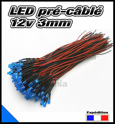259C# LED 3mm 12v pré-câblé bleu diffusant 5 à 100pcs - pre wired LED blue