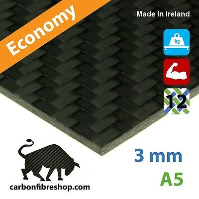 ECONOMY Real Carbon Fibre Sheet 3 mm A5 (148 x 210 mm)