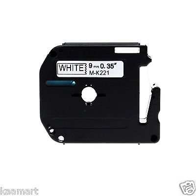 Compatible with Brother MK221 9mmx8m Black-On-White P-touch PT-55 PT-65 Labeller