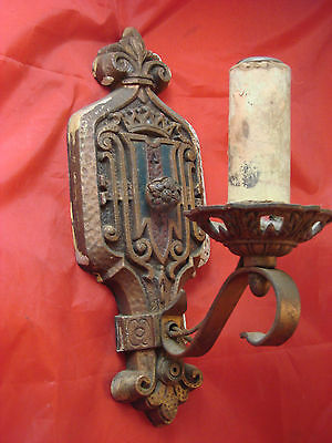 Scarce Pair Of 2 Matching Antique Wall Sconces Cast Fleur-De-Lis New Orleans