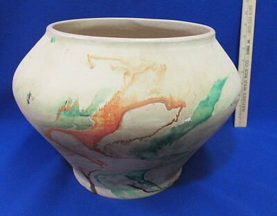 Vintage Large Nemadji USA Pottery Floor Vase Art  Beige Orange Green