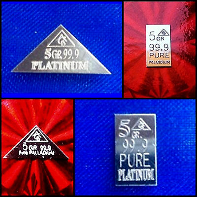 ACB Palladium & Platinum Rectangle & Pyramid 5GRAIN BULLION MINTED  999 (4 bars)