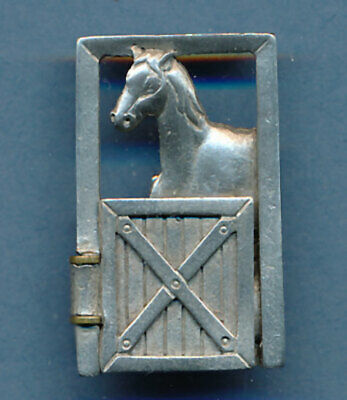 Horse W/ Foal Door Opens Brooch Pin Silvertone Jonette Cute!
