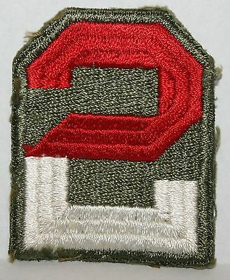 Original WWII 2nd US Army Corps Cut Edge Uniform Shoulder Patch Red & White
