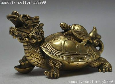 Chinese Fengshui Bronze brass Dragon Turtle Tortoise Coin Money Wealth Statue
