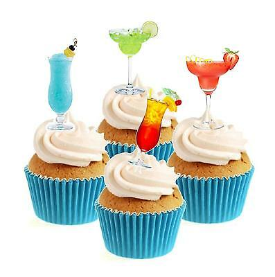 Novelty Cocktail Party Collection 12 Edible Stand Up wafer paper cake toppers