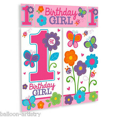 Sweet Pink Butterfly Girl's 1st Birthday Party Scene Setter Wall Decorating Kit