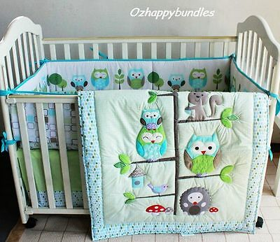 New Baby Girl Boy 7 Pieces Cotton Nursery Bedding Crib Set Owl Family Bank Trans
