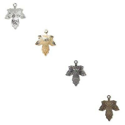 Lot of 10 Maple Leaf 12mm 1/2 inch Drop Charms w/ Closed Loop Plated Brass Metal