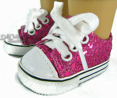 """Hot Pink Sequin Sneakers Shoes made for 18"""" American Girl Doll Clothes"""