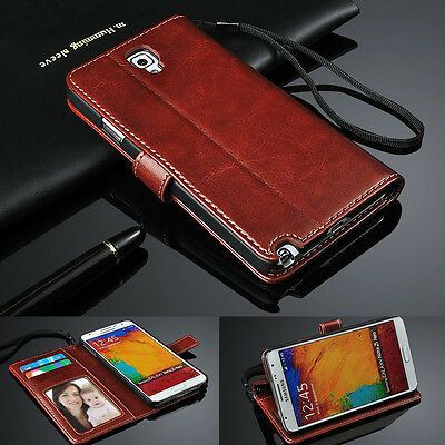For Samsung S6 7 8 9 Plus Note5 8 9 Genuine Leather Flip Wallet Phone Case Cover