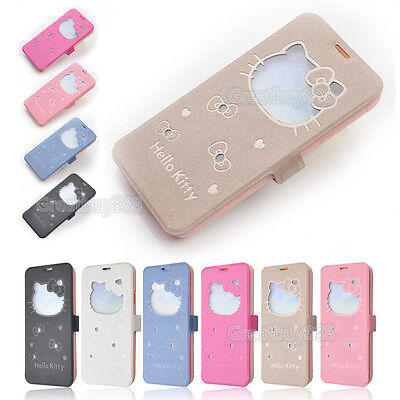 Cute Hello Kitty View Window Flip Cover Leather Stand Case for iPhone 6 Plus 5S
