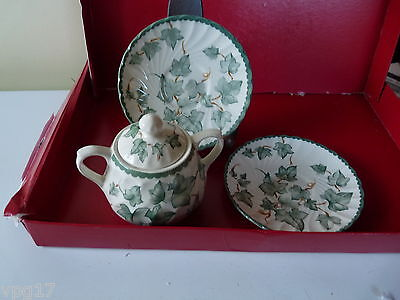 Bhs  Country Vine  2  Handled  Lidded  China  Sugar Bowl With 2 Saucers  Used