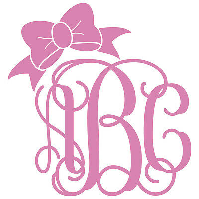 Single Color Three Letter Vine Monogram w/ Bow Decal Sticker - TONS OF OPTIONS