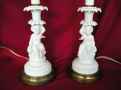 Antique Pair Vintage Bisque Art Nouveau~Cherub Lamps Florals Grapes Lovely OLD