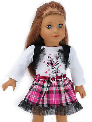 """Butterfly Pink, Black, & White Dress made for 18"""" American Girl Doll Clothes"""