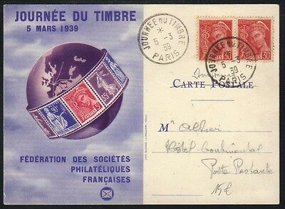 PARIS / 1939 CARTE & OBLITERATIONDE FDC DE LA JOURNEE DU TIMBRE (ref 4457a)