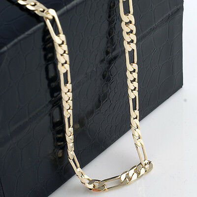 Mens 18K Yellow Gold Plated 24in Figaro Chain Necklace 5.6 MM