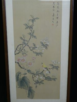 VERY LARGE EARLY MID 20c QING CHINESE LANDSCAPE PAINTING ON SILK 村书法合璧 立轴 设色水墨絲