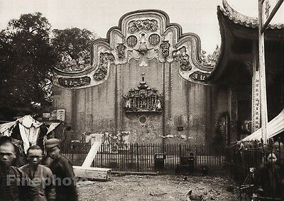 1906 Vintage CHINA GUANGZHOU Temple Gable Street Children Photo Art ~ BOERSCHMAN