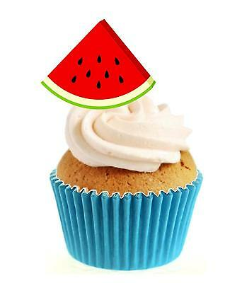 Novelty Watermelon Slice 12 Edible Stand Up wafer paper cake toppers birthday