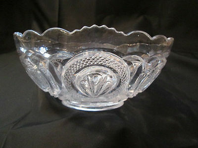 EAPG GLASS SALAD BERRY BOWL ADMIRAL RIBBED ELIPSE DIAMOND LOOP ??