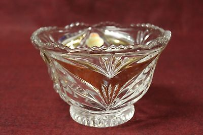 Vtg  AnnaHutte Guilded 24%Leaded Crystal Footed Candy Dish/ Bowl w/Label-Germany