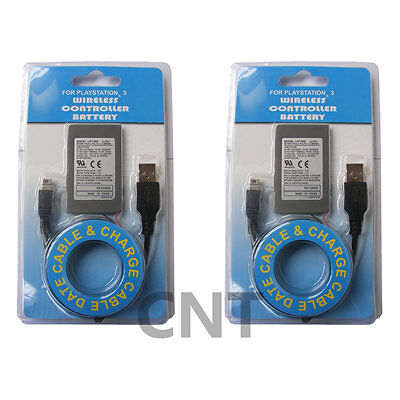 2XBATTERY FOR PS3 Dualshock 3 Battery Replacement Includes USB Sync Charge Cable