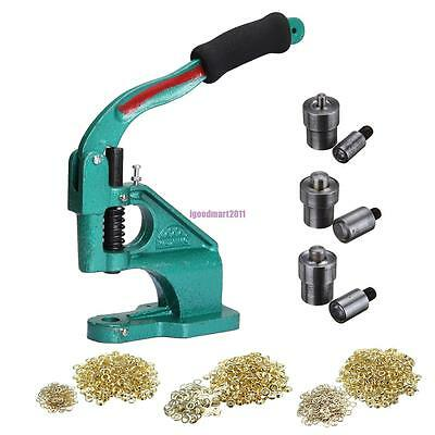Grommet Eyelet Hole Punch Machine Hand Press Tool +3 Dies + 900 Grommets