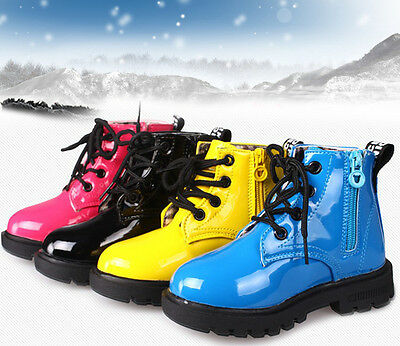 Kids Boots Boys Girls Lace Up&Zipper Ankle Boots Waterproof Casual Shoes