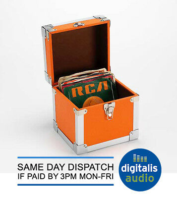 """7"""" Record Box Flight Case Steepletone Green Leatherette Holds CDs or Singles NEW"""