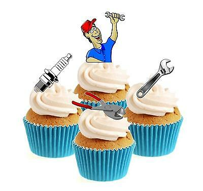 Novelty Mechanic Mix 12 Edible Stand Up wafer paper cake toppers Birthday