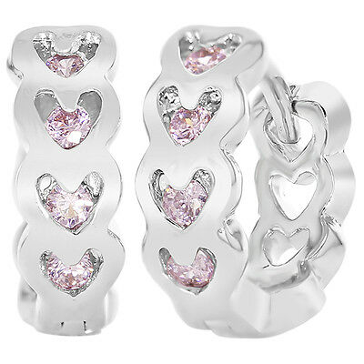 18k White Gold Filled Hoop Huggie CZ Pink Crystal Hearts Children Earrings 10mm
