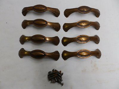 Vintage Set of 8 Tin Cabinet Drawer Door Bin Pulls Old Kitchen Hardware 4104-15
