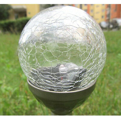New Solar Powered Bright Outdoor Garden Path Crackle Glass Led Ball Light