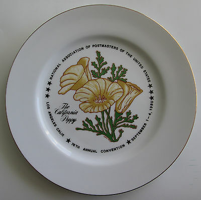 Postmasters of the United States California Poppy Plate vintage 1980s USPS NAPUS