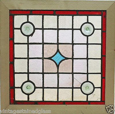Antique Stained Glass Window Six colors Roundelles Blue Star              (2663)