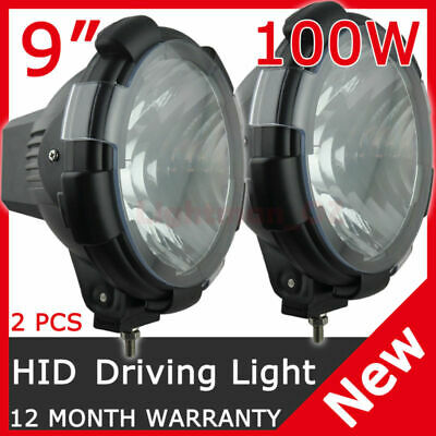 2 Pcs 9 Inch 100W Hid Xenon Driving Lights Flood Euro Beam 12V Offroad 4Wd