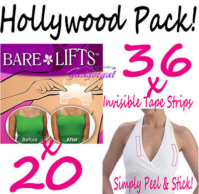 New Hollywood Pack - 20 Bare (Breast) Lifts and 36 Invisible Fashion Tape Strips