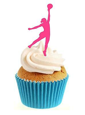 Novelty Netball Silhouette Pink 12 Edible Stand Up wafer paper cake toppers