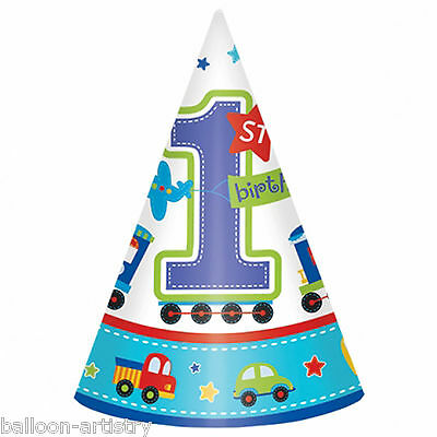8 All Aboard Blue Boy's Happy 1st Birthday Party Paper Cone Hats