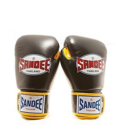 Sandee Authentic Leather Boxing Gloves - Black/Yellow Thai Boxing Gloves