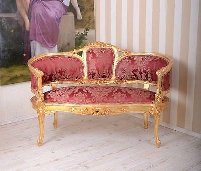 ancien salon 3 pi ces de style louis xv en bois dor tissu. Black Bedroom Furniture Sets. Home Design Ideas